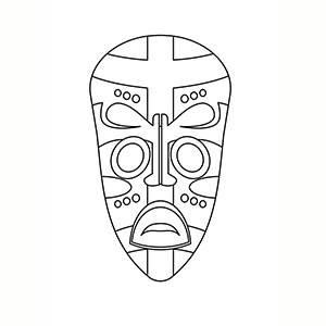 Máscara de Africano para colorear