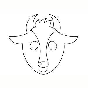 Máscara de Cabra para colorear