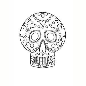 Máscara de Día de los Muertos para colorear