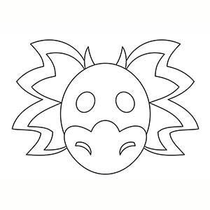 Máscara de Dragón Chino para colorear