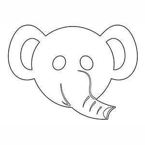 Máscara de Elefante para colorear