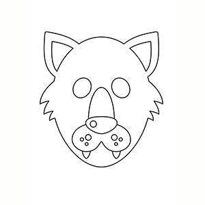 Máscara de Lobo para colorear