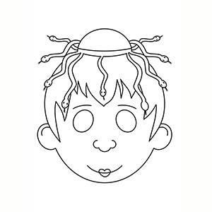 Máscara de Diosa Medusa para colorear