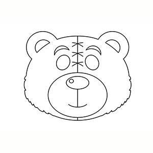 Máscara de Osito de Peluche para colorear