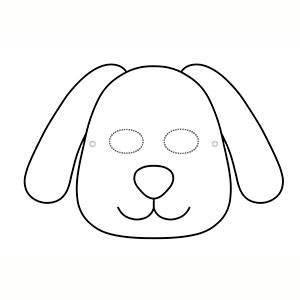 Máscara Perro para colorear
