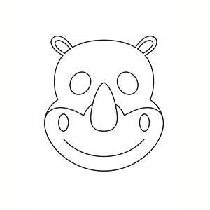 Máscara de Rinoceronte para colorear