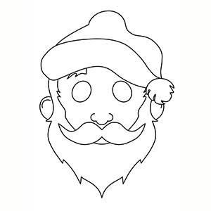 Máscara de Santa Claus para colorear