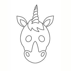 Máscara de Unicornio para colorear